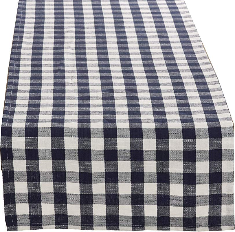 Fennco Styles Gingham Collection Farmhouse Plaid Pure Cotton Table Runner 16 X72 Inch Navy Blue Table Runner For Brunches Banquets Special Events And Home D Cor