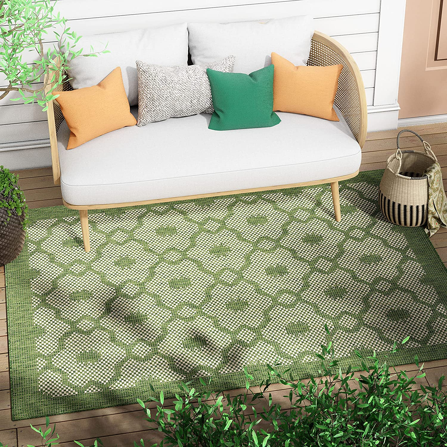 Choice Well Woven Sunna Green Indoor Moroccan Flat-Weave T Outdoor Pile Max 47% OFF