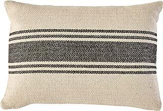 Creative Co-Op Cream Rectangle Cotton Pillow with Grey Stripes