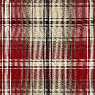 McAlister Textiles Angus Fabric | Red + White Tartan Check DIY Crafting Material Decorative Fabric for Upholstery and Home Décor | Fabric Swatch 3x7 Inches
