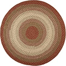Hartford 4' Round Braided Rug Indoor/Outdoor Rug Kitchen Rugs in Red Sunroom/Porch Carpet