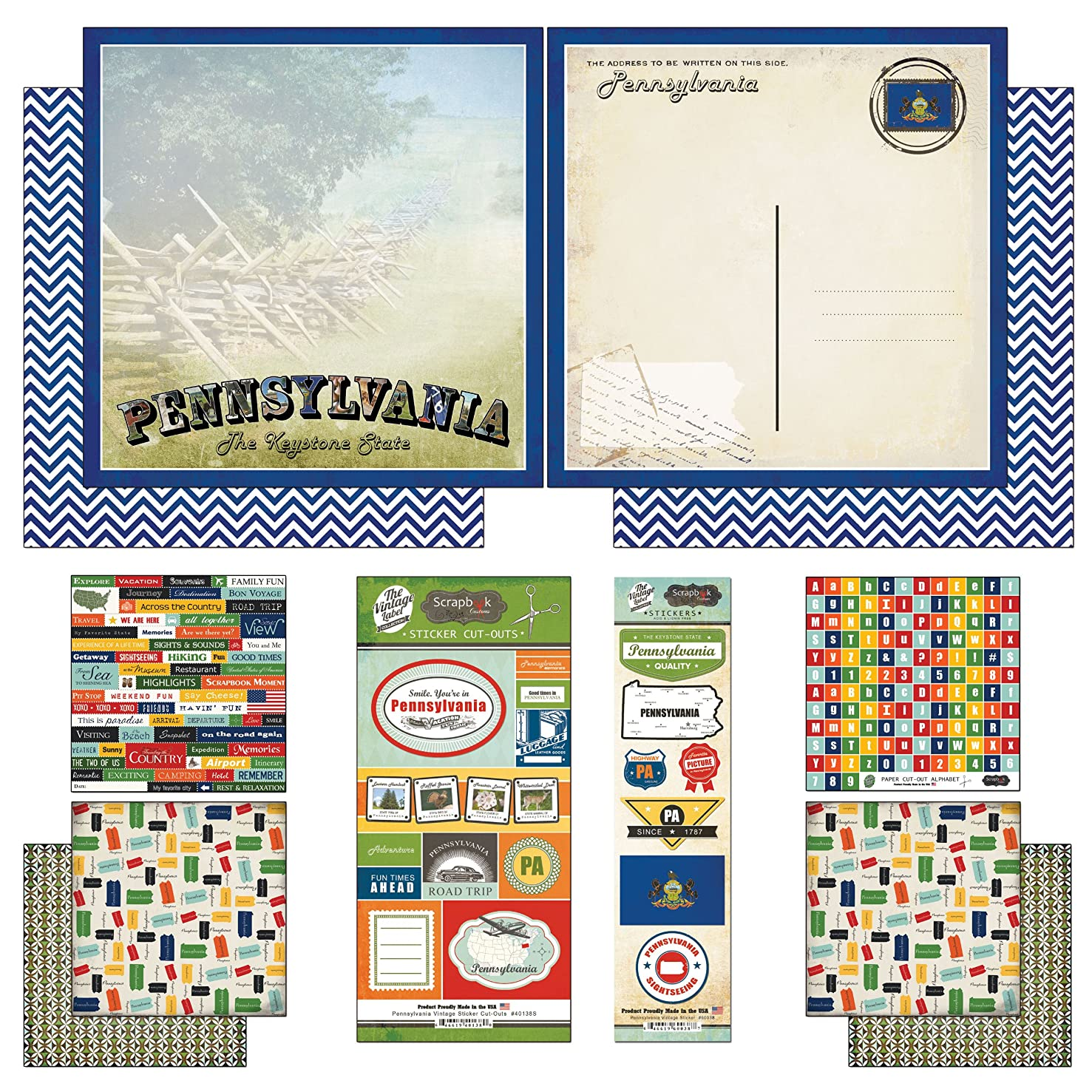 Scrapbook Customs Themed Paper and Stickers Scrapbook Kit, Pennsylvania Vintage