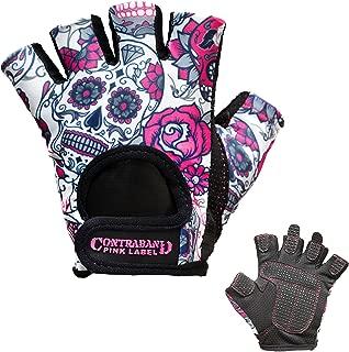 Contraband Pink Label 5237 Womens Design Series Sugar Skull Lifting Gloves (Pair) - Lightweight Vegan Medium Padded Microfiber Amara Leather w/Griplock Silicone