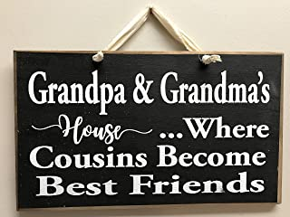 DKISEE Cousins Sign Grandpa Grandmas House Where Cousins Become Friends Quote Gift Grandparents Wood Plaque Trimble Crafts Wood Sign Wooden Sign, 12x18 inches