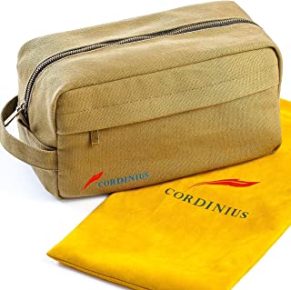 Men's Toiletry Bag - Canvas Dopp Kit, Army Green Color - Comes with Velvet Drawstring Bag