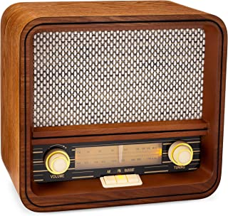 ClearClick Classic Vintage Retro Style AM/FM Radio with Bluetooth & Aux-in - Handmade Wooden Exterior