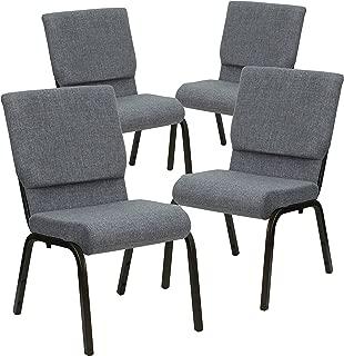 Flash Furniture 4 Pk. HERCULES Series 18.5''W Stacking Church Chair in Gray Fabric - Gold Vein Frame
