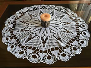Wedding Large Doily Crochet Lace Vintage Decoration Handmade White Blue Ochre Embroidery Tableware Traditional Bulgarian Folk Art Round Linen Table Runners Topper Cover Cotton Doilies Gift Mom Bride