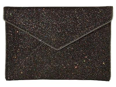 Rebecca Minkoff Glitter Leo Clutch (Black) Clutch Handbags