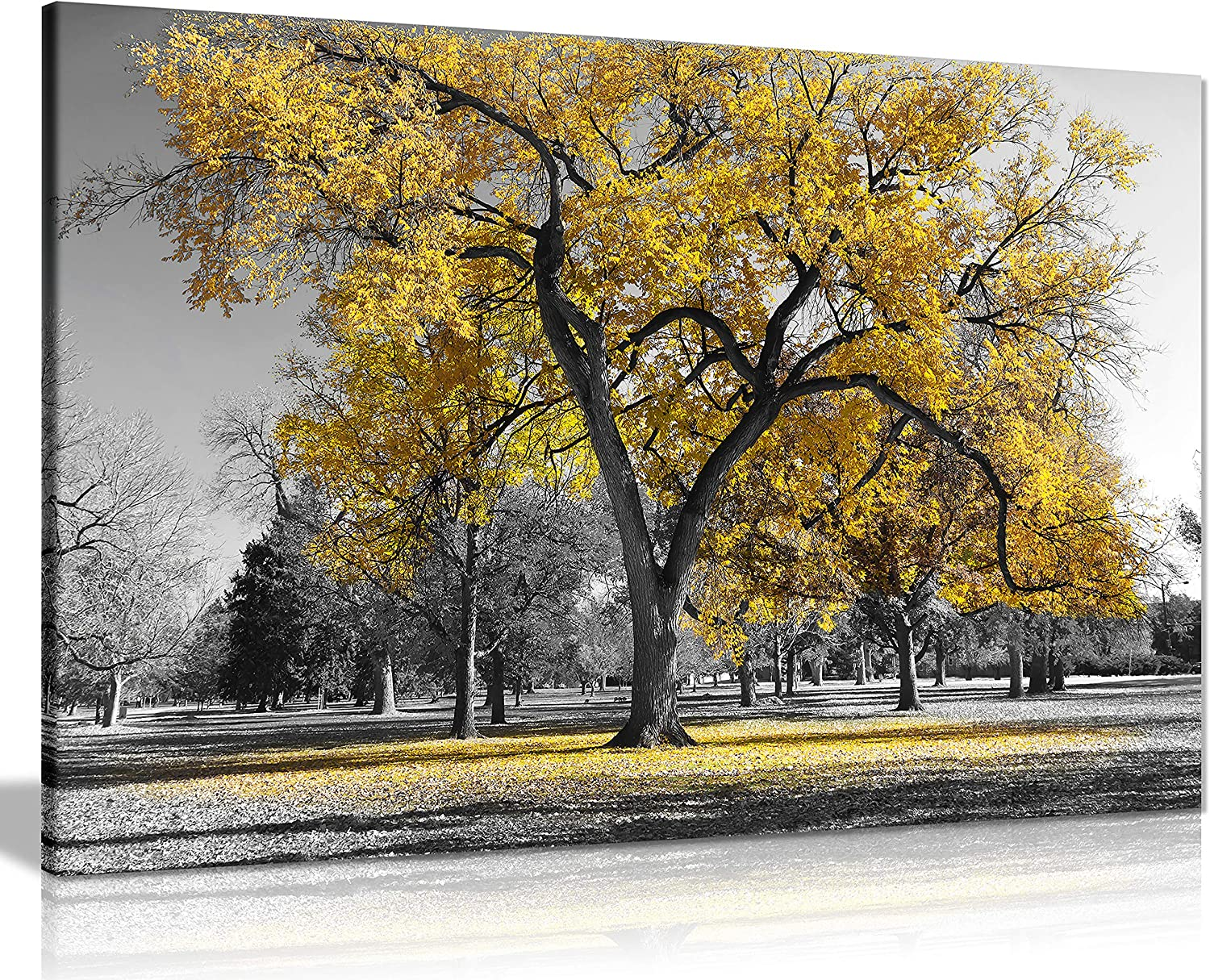 Panther Print, Large Canvas Wall Art, Beautiful Living Room and Bedroom Framed Art, Quality Picture Prints for Walls, Nature Design, Large Tree Yellow Leaves, Print for Special Occasions (76x51cm)