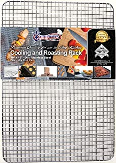 KITCHENATICS Commercial Grade Stainless Steel Cooling and Roasting Rack Heavy Duty Thick-Wire Grid Fits Jelly Roll Pan Oven-Safe Rust-Resistant for Cooking, Roasting, Grilling, Drying - 10