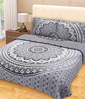 Grey Ombre Mandala Tapestry Bedding with Pillow Covers Gray Bed Covers Indian Bedspread & Coverlet Sets for bedroom Hippie Tapestry Wall Hanging Picnic Blanket Beach Throw, Queen Size Grey & White