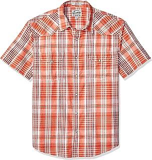 Men's Short Sleeve Button Up Orange Plaid Santa Fe Western Shirt