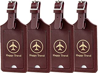 Gostwo 4 Pack Luggage Tags Leather Case Luggage Bag Tags Travel Tags (Wine Red)