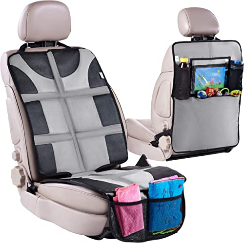Car Seat Protector with Thickest Padding + Backseat Car Organizer, XL Largest Car Seat Cover Protector for Child Baby...