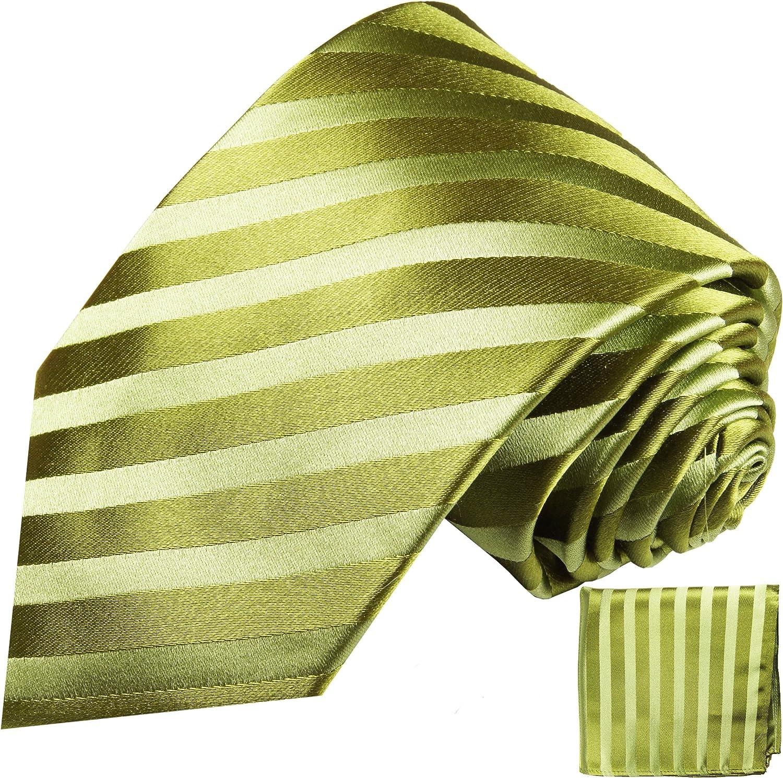 100% Silk Tie a. Pocket Square by Paul Malone Green Stripes