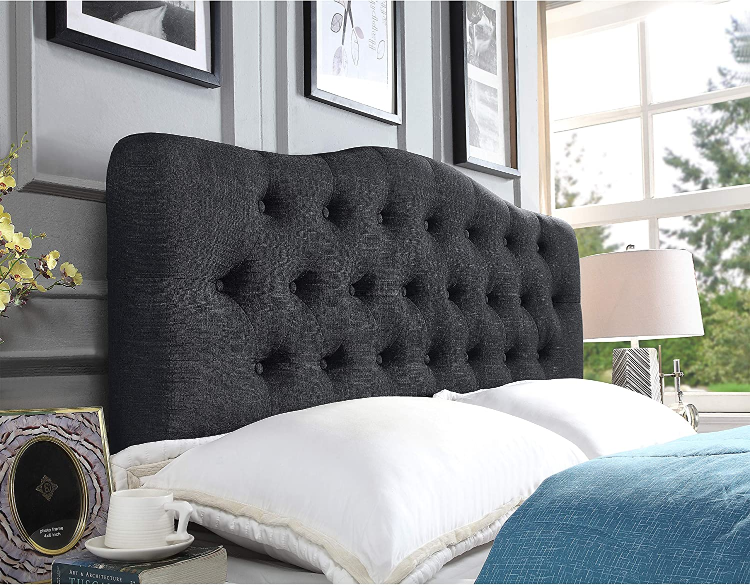 Rosevera Givanna ! Super beauty product restock quality top! Upholstered King Charcoal Headboard Cheap sale