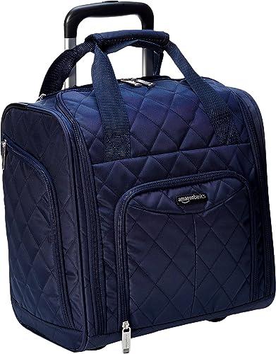 Amazon Basics - Equipaje para llevar bajo el asiento, Azul marino acolchado