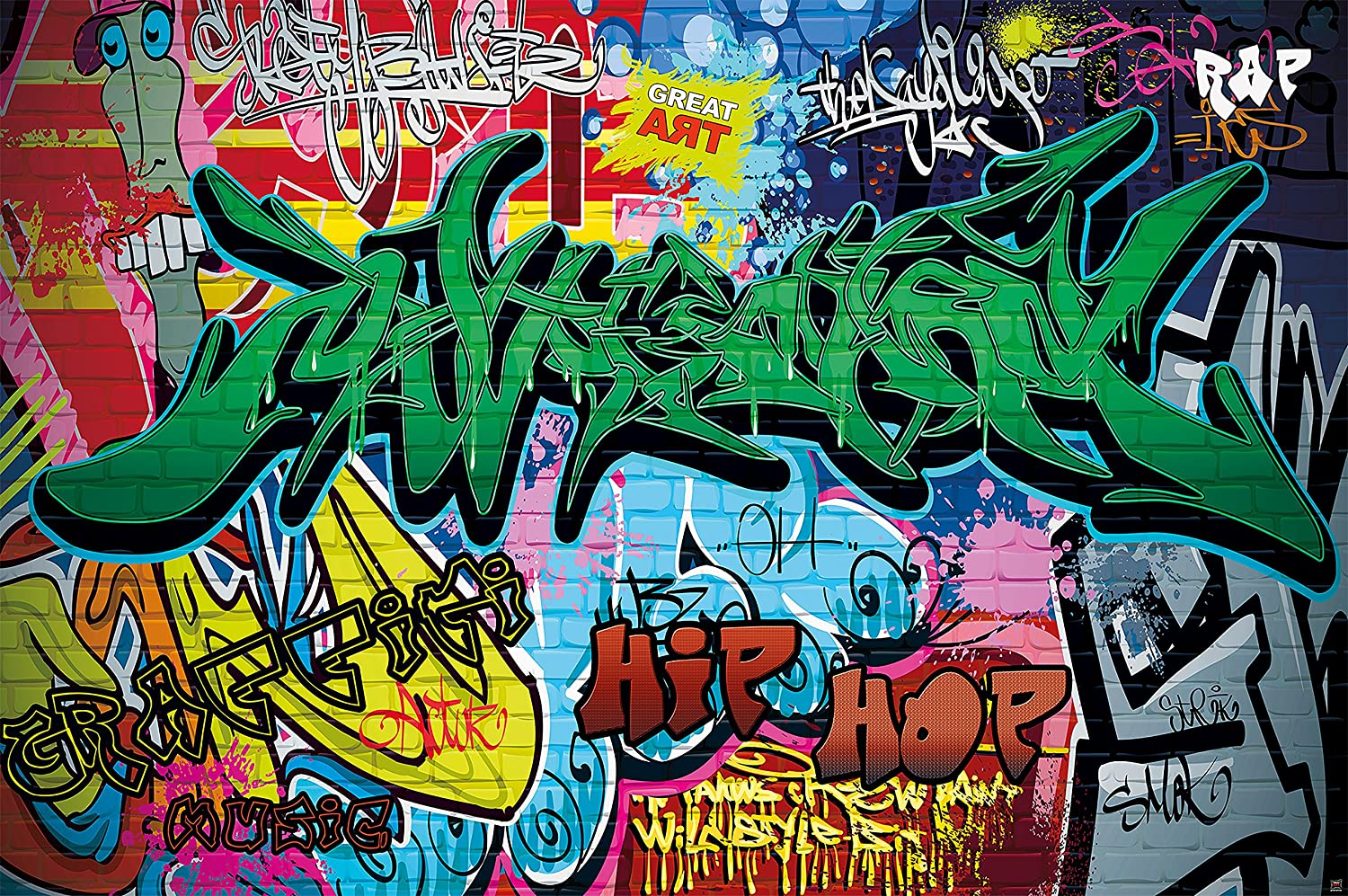 GREAT ART Wallpaper Graffiti Style - Kids and Teenagers Wall Decoration Street Art Mural Retro Posters (132.3 Inch x 93.7 Inch 336 x 238 cm)