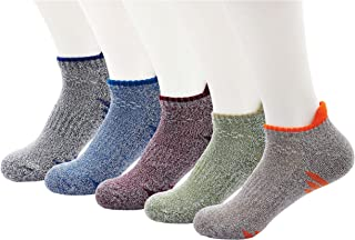 Mens Hiking Socks Athletic Running Ankle Sock Thick Cushion Boot Cotton Socks for Cycling Trekking 5 Pairs
