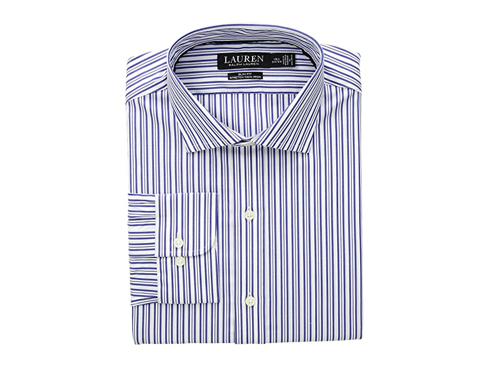 LAUREN Ralph Lauren Slim Fit No-Iron Striped Cotton Dress Shirt (Imperial Blue/White) Men's Long Sleeve Button Up