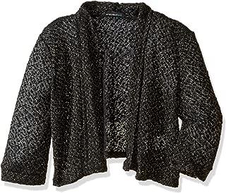 Girls' Big Lightweight Crochet Knit Drape Front Sweater