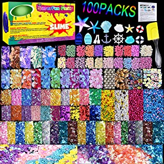 HSETIY Slime Supplies Kit, 100 Pack Slime Stuff Charms Include Floam Balls, Cake Flower Fruit Slices, Fishbowl Beads, Shell, Slime Accessories