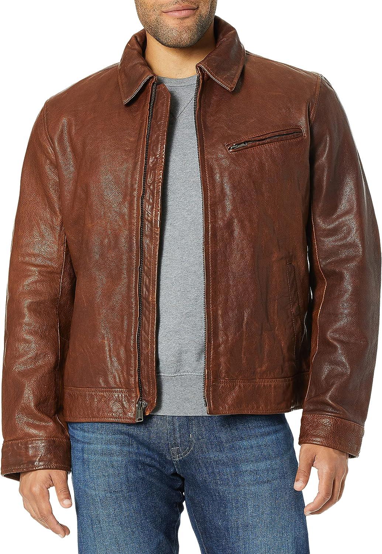 Lucky Brand Men's Aviator Leather Jacket