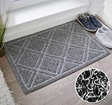 BrigHaus Large Outdoor Indoor Door Mat | Non-Slip Heavy Duty Front Welcome Doormat Rug, Outside Patio, Inside Entry Way, Catches Dirt Dust Snow & Mud - Black/White (24