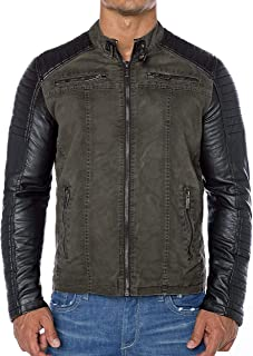 Red Bridge Men's Faux Leather Biker Jacket with Stitching