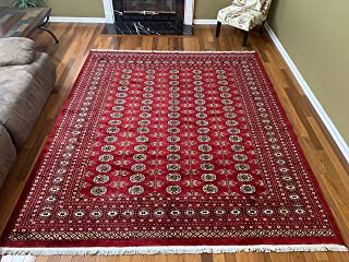Stampa Rugs 9' 7'' x 8' 3'' (ft)-Red Hand Knotted | Red Bokhara Rug| Mori Gola Style | Pakistani Bokhara Rug | Wool Made Living Room Big Rug