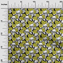 oneOone Cotton Cambric Lime Green Fabric Floral & Skull Sewing Material Print Fabric by The Yard 42 Inch Wide