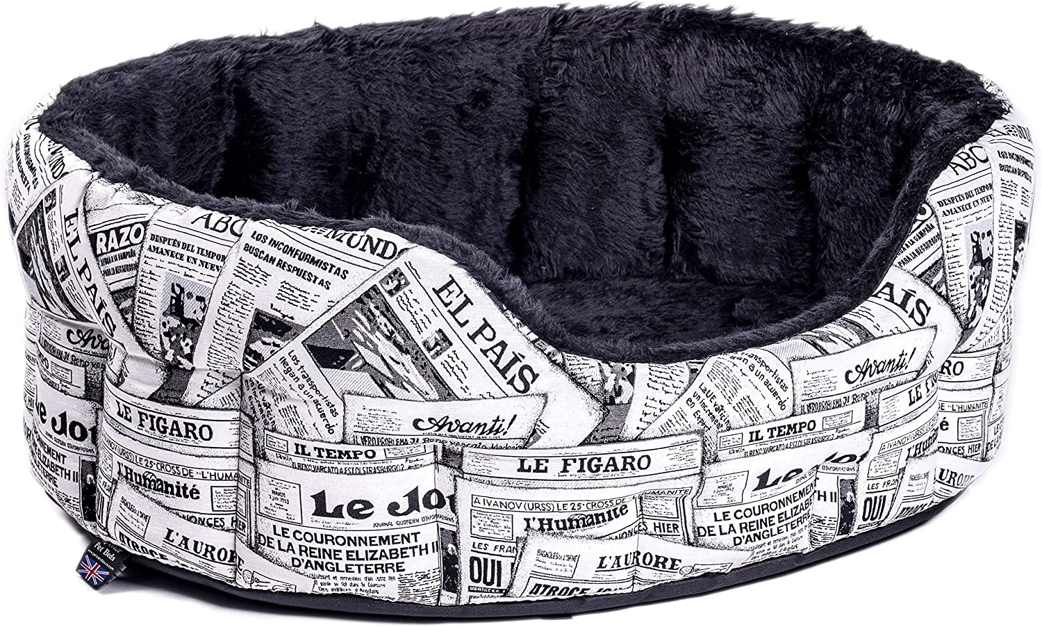 P&L Superior Pet Beds Fur Lined Oval Drop Fronted Heavy Duty News Design Softee Bed, Intermediate, 61 x 51 x 22 cm, Black White(size 4)