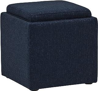 comprar comparacion Marca Amazon -Rivet Ross - Otomana de tweed con tapa para almacenaje, 45,7 cm de ancho (azul vaquero)