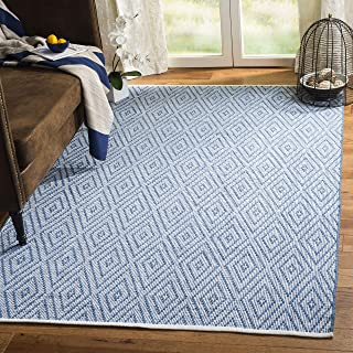 Safavieh Montauk Collection MTK811B Handmade Flatweave Blue and Ivory Cotton Area Rug (6' x 9')