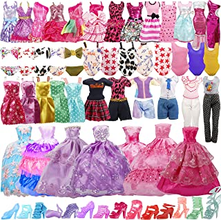 35 Pack Handmade Doll Clothes Including 5 Wedding Gown Dresses 5 Fashion Dresses 4 Braces Skirt 3 Tops and Pants 3 Bikini ...