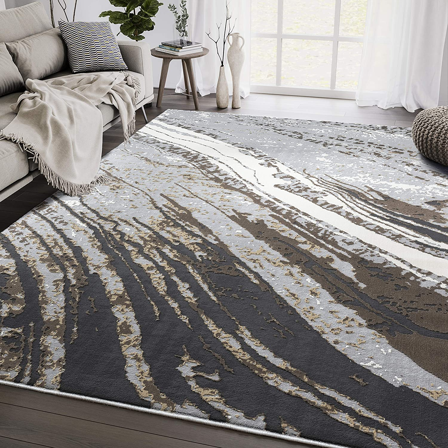 Free shipping / New Modern Grey Marble 4'x6' New products world's highest quality popular Area Rug Rugs Aspen by Abani Collection