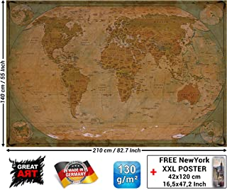 Mural – Historical World Map Poster XXL – Wall Picture Decoration Globe Antique Vintage World Map Used Atlas Map Old School Wallpaper Photoposter Mural Decor (82.7 x 55 Inch / 210 x 140 cm)