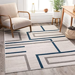 "Well Woven Good Vibes Fiona Blue Modern Geometric Lines 7`10"" x 10`6"" 3D Texture Area Rug"