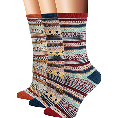 4c2bb4802c45 Flora Fred Women s 3 Pair Pack Vintage Style Cotton Crew Socks