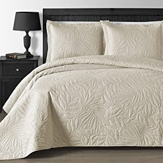 Comfy Bedding Extra Lightweight and Oversized Thermal Pressing Leafage 3-Piece Coverlet Set (King/Cal King, Beige)