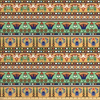 Ambesonne Egyptian Fabric by The Yard, Motifs Pattern with Lily Flower and Scarab Abstract Design, Decorative Fabric for Upholstery and Home Accents, 1 Yard, Beige Seafoam