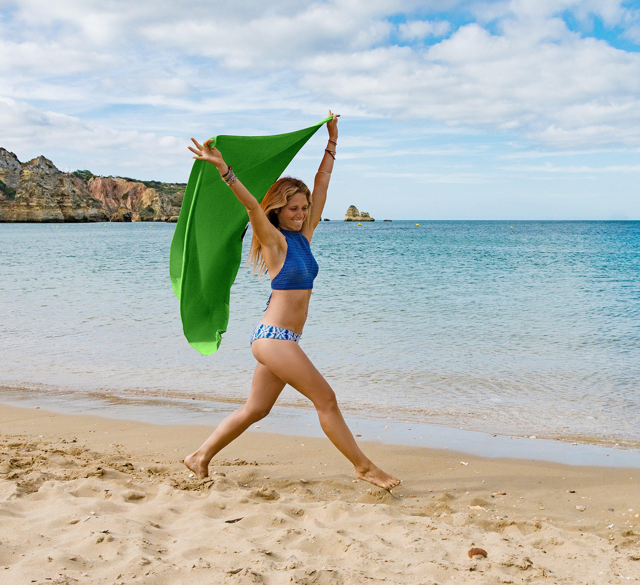 80x160cm Azul - Borde Verde en Todos los tama/ños // 18 Colores Ultraligera y compacta Toalla Playa Microfibra y Toalla Deporte Gimnasio Fit-Flip Toalla Microfibra Toalla Secado rapido