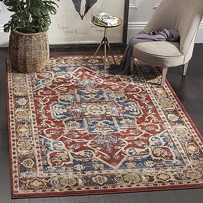 Safavieh Bijar Collection BIJ605R Traditional Oriental Vintage Red and Royal Blue Area Rug (9' x 12')