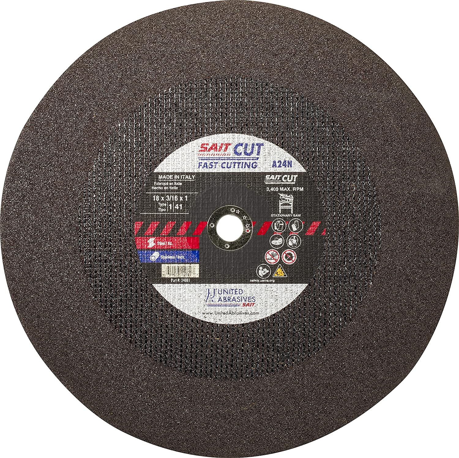 United Abrasives Excellence SAIT 24081 18X3 16X1 Metal St New arrival Fast Cutting A24N