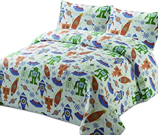 Better Home Style Space Galaxy World Kids/Boys/Toddler Coverlet Bedspread Quilt Set with Pillowcases and Robots Space Ships Rockets Flying Saucers and Planets Designs # 2019156 (Twin)
