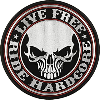 Hot Leathers Live Free Ride Hardcore Skull Patch (1