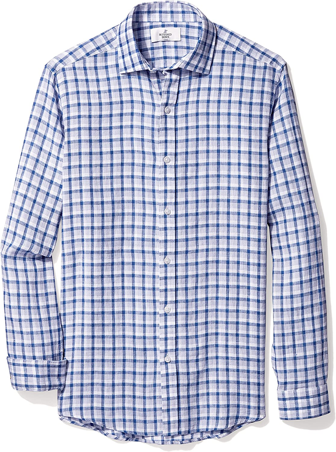 Amazon Brand - Buttoned Down Men's Fitted Casual Linen Cotton Shirt
