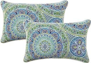 "Pillow Perfect Outdoor/Indoor Delancey Lagoon Lumbar Pillows, 11.5"" x 18.5"", Blue, 2 Count"