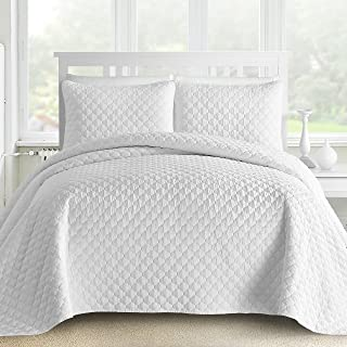 Comfy Bedding 3-Piece Bedspread Coverlet Set Oversized and Prewashed Lantern Ogee Quilted, Full/Queen, White